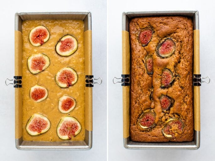 Side by side photos of fig bread before and after being baked.