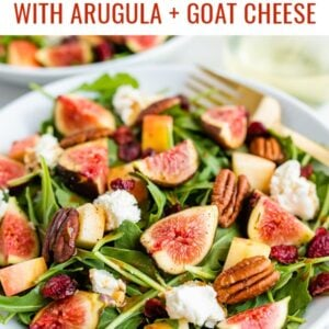 Arugula salad with goat cheese, pecans, dried cranberries and fresh figs.