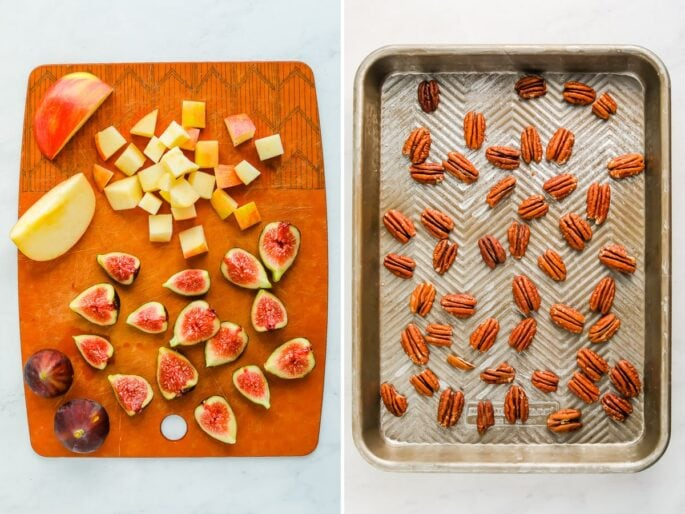 Side by side photo of a cutting board with chopped apples and figs. Second photo is pecans on a cookie sheet to be toasted.