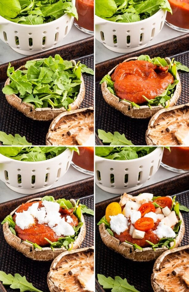 Collage of four photos showing how to make portobello mushroom pizzas: layering arugula, sauce, goat cheese and veggies.