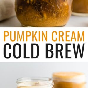 A mason jar with cold brew coffee and pumpkin cream being poured in to the top. The cream is mixing in with the cold brew. Photo below is of two mason jars of pumpkin cream cold brew.