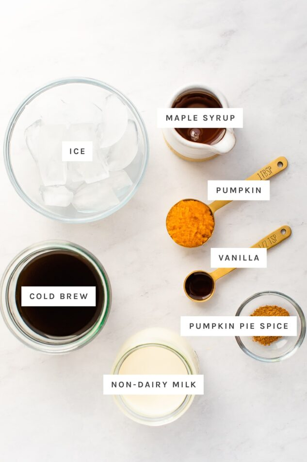 Ingredients measured out to make pumpkin cream cold brew: ice, maple syrup, pumpkin, vanilla, cold brew, pumpkin pie spice and non-dairy milk.