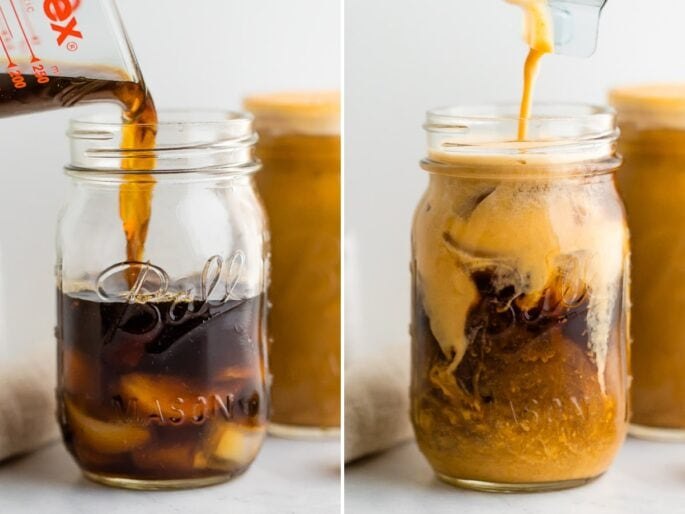 Side by side photos. The first is cold brew being poured over ice in a Mason jar. The second is someone pouring pumpkin cream into the cold brew.