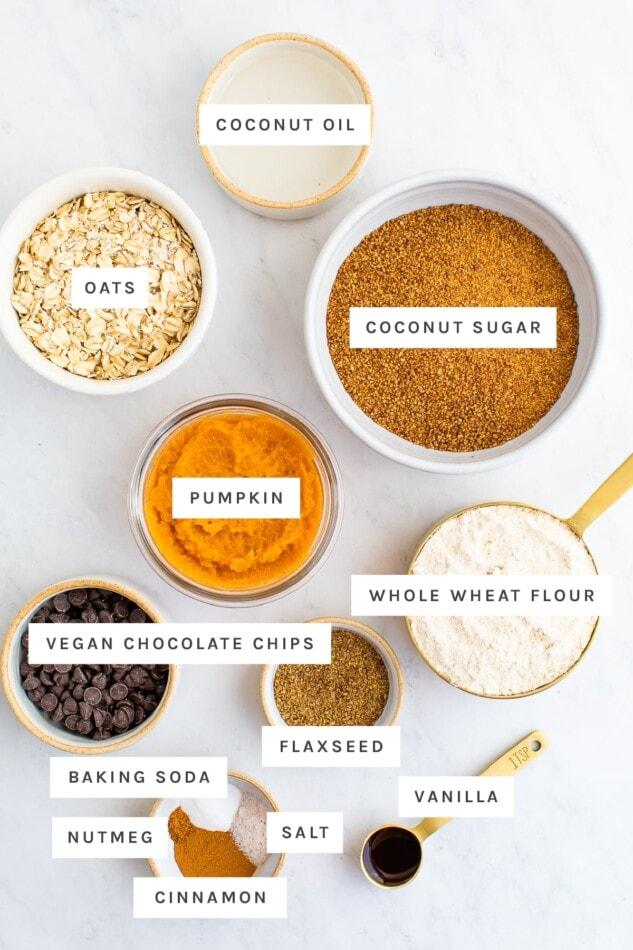 Ingredients measured out to make oatmeal pumpkin cookies: coconut oil, oats, coconut sugar, pumpkin, whole wheat flour, vegan chocolate chips, flaxseed, baking soda, nutmeg, cinnamon, salt and vanilla.