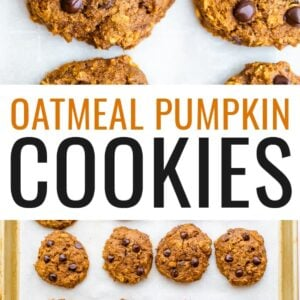 A close up of pumpkin oatmeal cookies, fresh from the oven. The cookies are resting on a sheet of parchment paper.