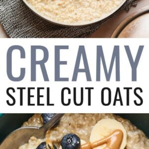 Two photos. The top is a pot of sleet cut oats. The bottom is a bowl of steel cut oats topped with blueberries, banana and peanut butter.