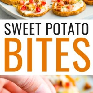 A hand is holding a small carafe of honey, drizzling the honey across a plate of sweet potato bites. Second photo below is a person's hand holing a sweet potato bite.