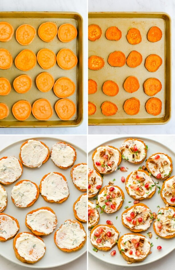 Collage of four photos. Two photos are slices of sweet potato before and after being baked. The third is a photo of ricotta spread on the sweet potato rounds. The fourth is the rounds topped with pomegranate, thyme and pecans.
