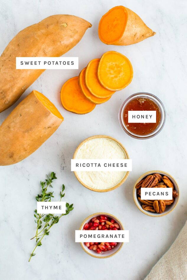 Ingredients measured out to make sweet potato bites: sweet potato, honey, ricotta cheese, pecans, thyme and pomegranate.