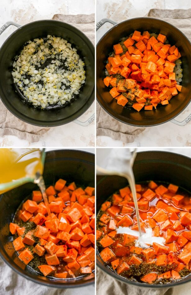 Collage of four photos showing the process of making sweet potato soup: sautéing onions, adding sweet potato cubes and spices, pouring broth into the pot and then coconut milk.