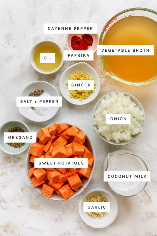 Ingredients measured out to make sweet potato soup: cayenne pepper, vegetable broth, oil, paprika, ginger, salt, pepper, onion, oregano, sweet potatoes, coconut milk and garlic.