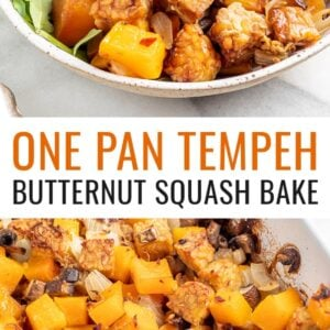 Overhead view of butternut squash tempeh bake served with brown rice and greens. Photo below is the tempeh and butternut squash bake in a casserole dish.