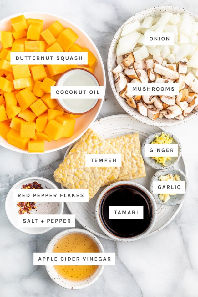 Ingredients measured out to make a tempeh butternut squash bake: butternut squash, coconut oil, onion, mushrooms, tempeh, ginger, garlic, tamari, red pepper, salt and apple cider vinegar.