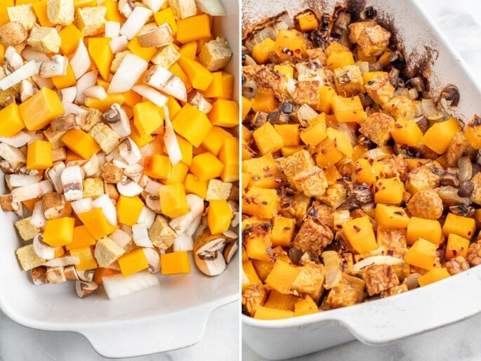 Side by side photos of a tempeh butternut squash bake before and after being baked.