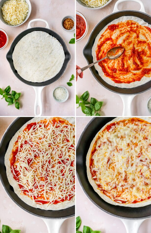 Collage of four photos showing the process of how to make tortilla pizzas: 1. plain tortilla in a pan, 2. Person spooning pizza sauce onto tortilla, 3. Sprinkled cheese on the pizza, 4. Melted cheese on the tortilla pizza.