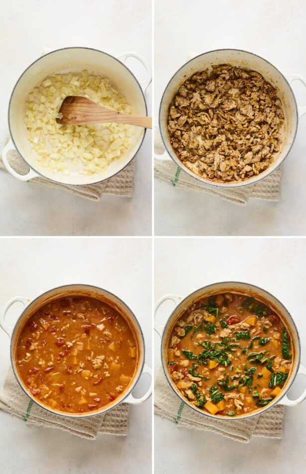 Collage of four photos showing the process of how to make butternut turkey chili: sautéing onions, adding spices and turkey, adding tomatoes and broth, adding kale.