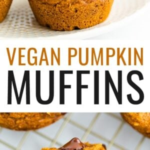 Pumpkin muffin with chocolate chips on a plate and a photo below of a pumpkin muffin sliced in half on a cooling rack, chocolate chips inside..