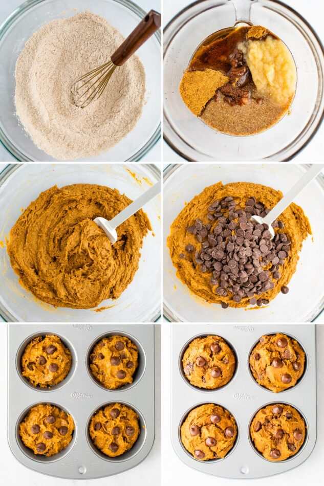 Collage of six photos showing the process of making vegan pumpkin muffins: whisking the dry ingredients, wet ingredients in a bowl, mixing wet and dry ingredients together to make batter, adding chocolate chips, adding batter to a muffin tin, baked muffins in the tin.