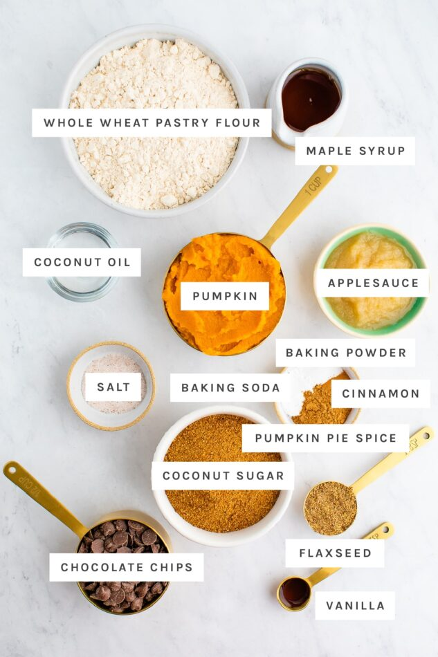 Ingredients measured out to make vegan pumpkin muffins: whole wheat pastry flour, maple syrup, coconut oil, pumpkin, applesauce, salt, baking powder, baking soda, cinnamon, pumpkin pie spice, coconut sugar, chocolate chips, flaxseed and vanilla.