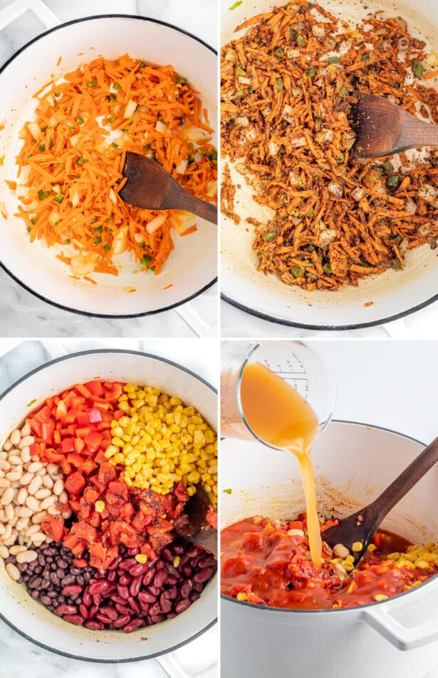 Collage showing the process on how to make vegetarian chili: sauteing veggies, adding corn and beans and broth.