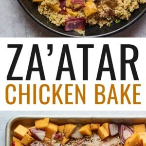 A plate of Za'atar chicken and vegetables over a bed of herbed couscous. Photo below is a sheet pan with the chicken and veggies.