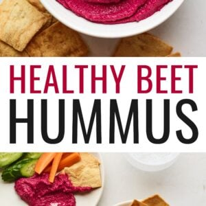 Beet Hummus in a bowl and beet hummus portioned onto plates with veggies and pita chips.