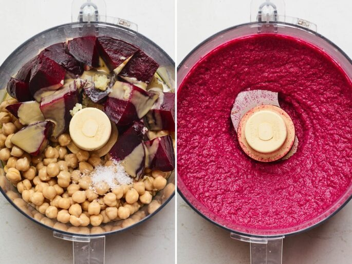 Side by side photos of beets, chickpeas, salt, garlic and tahini in a food processor next to a photo of the blended beet hummus in the food processor.
