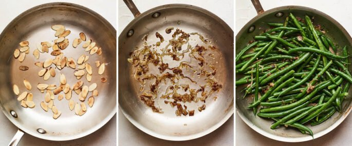 Three photos: 1. Toasting almond slices in a pan. 2. Sautéing shallots in a pan. 3. Green beans in a pan mixed with the shallots.