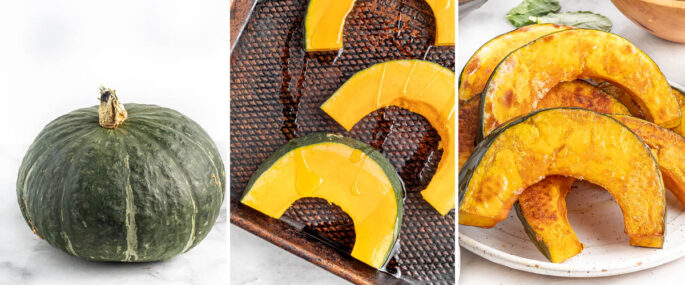 Three photos: a whole kabocha squash, the squash cut into half-ring shapes and then the roasted squash on a plate.