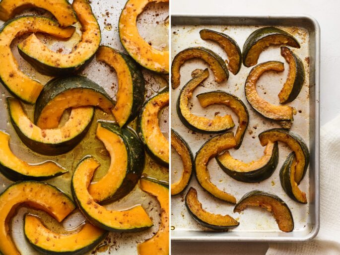 Side by side photos of cinnamon maple kabocha squash on a sheet pan before and after being roasted.