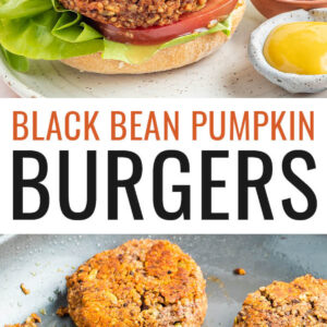 A black bean pumpkin burger on a bun with lettuce, tomato and onion. The burger is on a plate with two small ramekins of mustard and ketchup. There is a small pumpkin in the background. Below is a photo of six pumpkin burgers in a skillet.