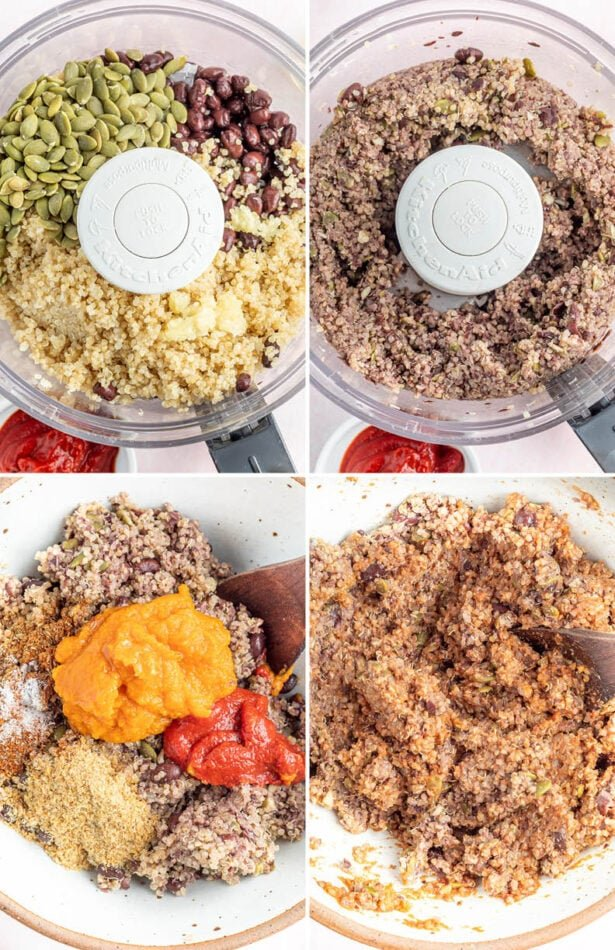 Four photos showing a food processor mixing quinoa, black beans, pumpkin seeds, and then a mixing bowl mixing in pumpkin and spices.