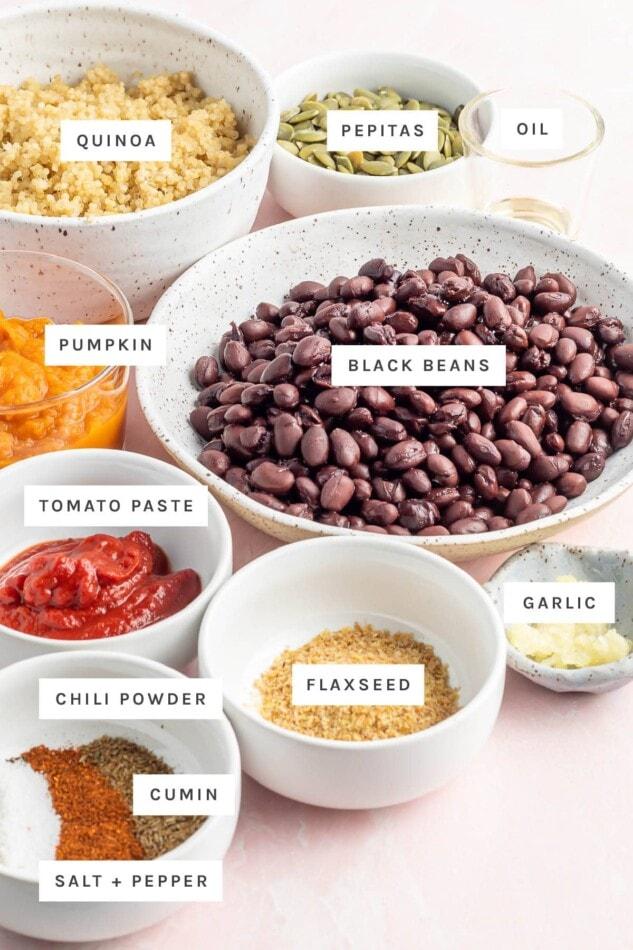 Ingredients measured out to make black bean pumpkin burgers: quinoa, pepitas, oil, pumpkin, black beans, tomato paste, flaxseed, garlic, chili powder, cumin, salt and pepper.