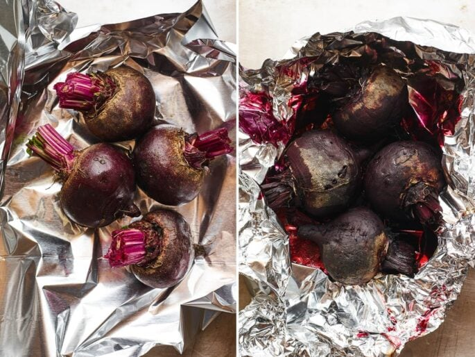Two photos side by side: the first is raw beets in some foil, the second is the roasted beets in the foil with juices.