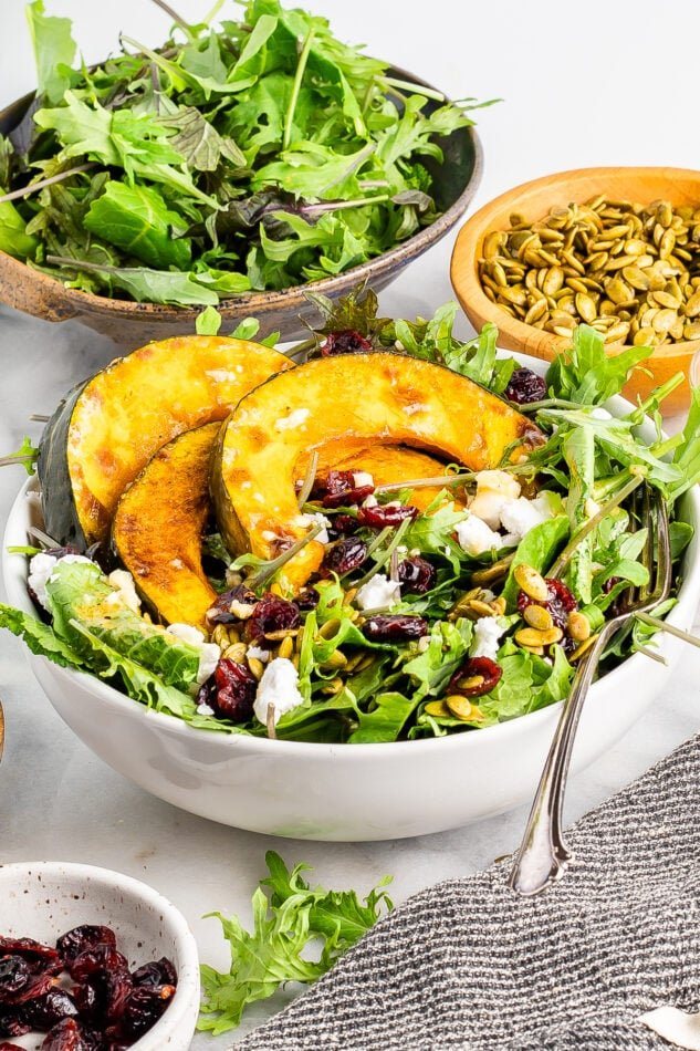 A bowl filled with kale topped with roasted kabocha squash, dried cranberries, pumpkin seeds and feta. A fork rests in the bowl. In the background there are two additional bowls holding more kale and some pumpkin seeds. There is a little bowl in the foreground of cranberries.
